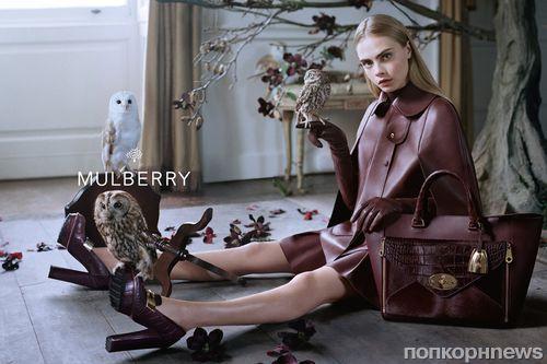 Кара Делевинь для рекламной кампании Mulberry Осень 13 / Зима 14