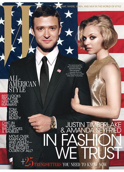 Джастин Тимберлейк и Аманда Сейфрид в журнале W. Октябрь 2011