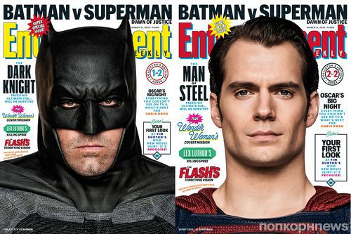 Бэтмен против Супермена: Бен Аффлек и Генри Кэвилл на обложке журнала Entertainment Weekly