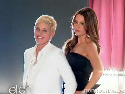 Эллен ДеДженерес и София Вергара на съемках рекламной кампании Covergirl