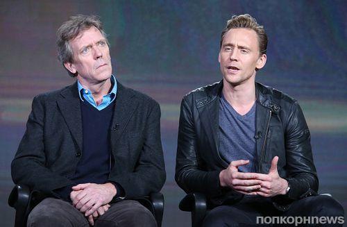 Фото: Том Хиддлстон и Хью Лори на пресс-ивенте сериала «Ночной администратор»