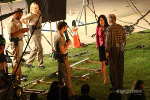 Кортни Кокс, Нив Кэмпбелл и Хайден Панеттьери на съемки фильма «Крик 4»