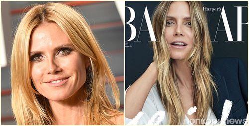 Хайди Клум смело снялась для обложки Harper's Bazaar без макияжа