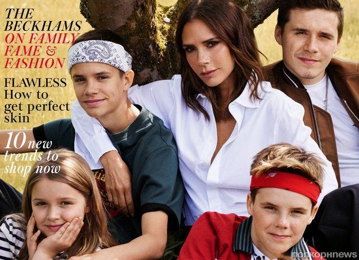 Все в сборе: Виктория Бекхэм с четырьмя детьми снялась для обложки Vogue