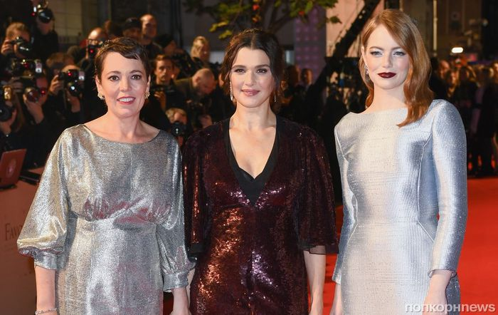 Фото: Эмма Стоун, Рэйчел Вай и Джо Алвин на премьере «Фаворитки» в Лондоне