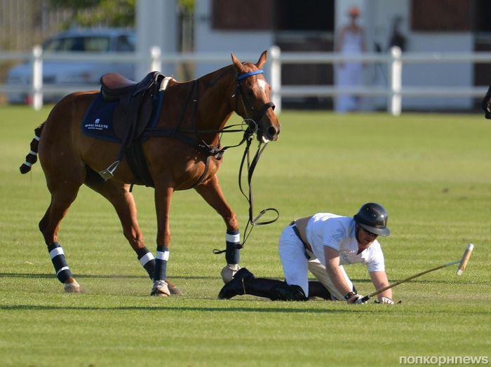 Принц Гарри дважды упал с лошади на турнире по игре в поло