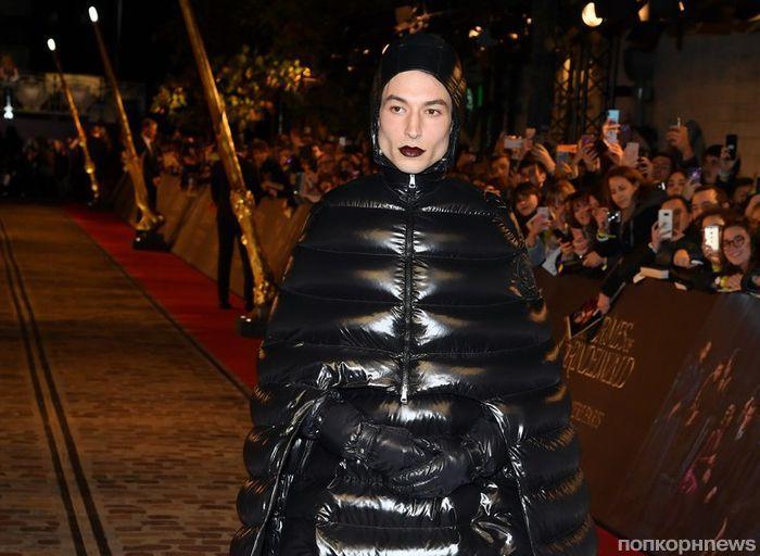 Эзра Миллер в пуховике и другие звезды на красной дорожке премьеры «Фантастических тварей 2» в Париже