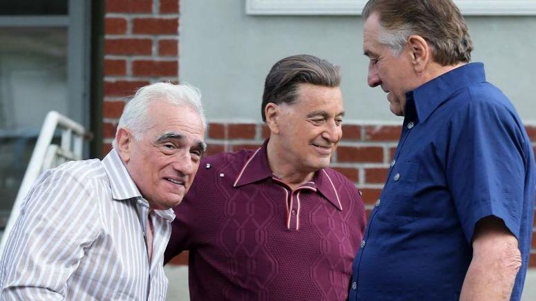 Мартин Скорсезе, Аль Пачино и Роберт Де Ниро на съемках «Ирландца»